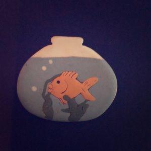 Jewelry - Ceramic goldfish brooch